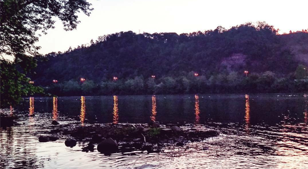 The North bank of the Allegheny River, with the lights of route 28