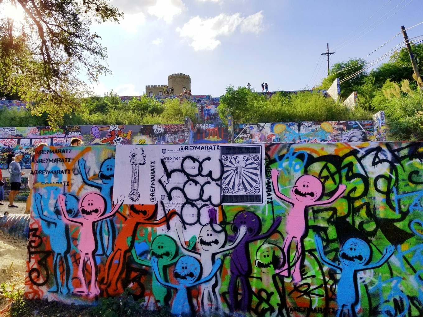 Mr. Meeseeks graffiti mural at the Hope Outdoor Gallery in Austin, Texas