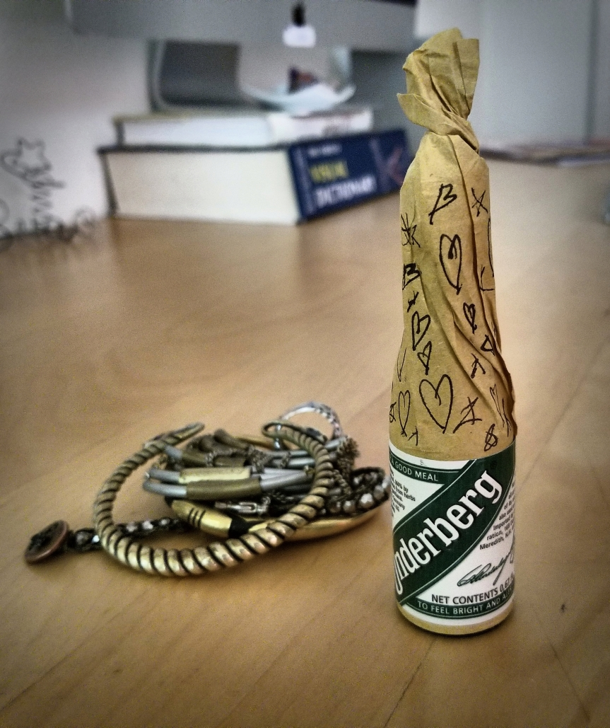 The Underberg bottle that J decorated with hearts and stars