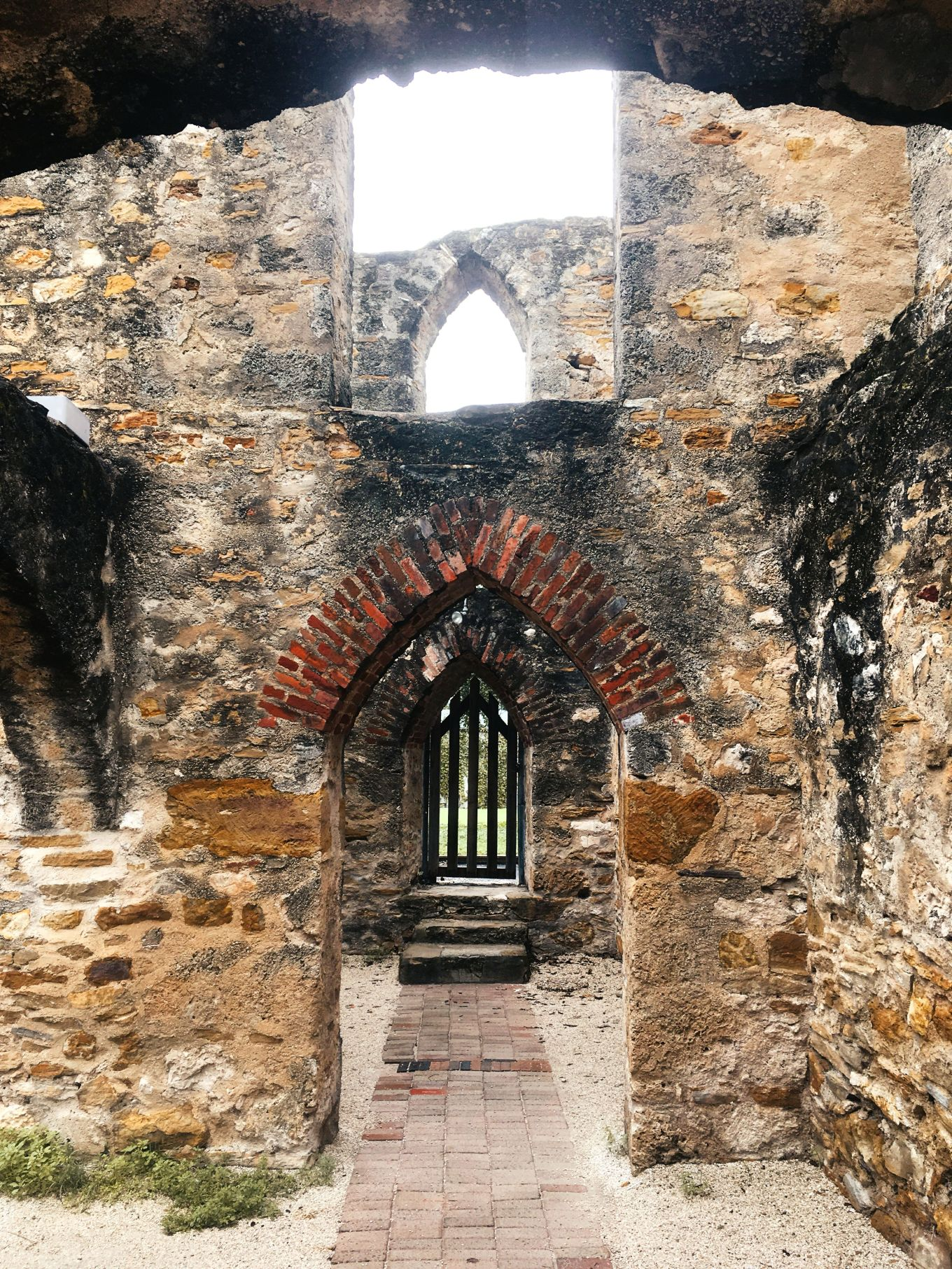 Arched doorways in Mission San Jose in San Antonio