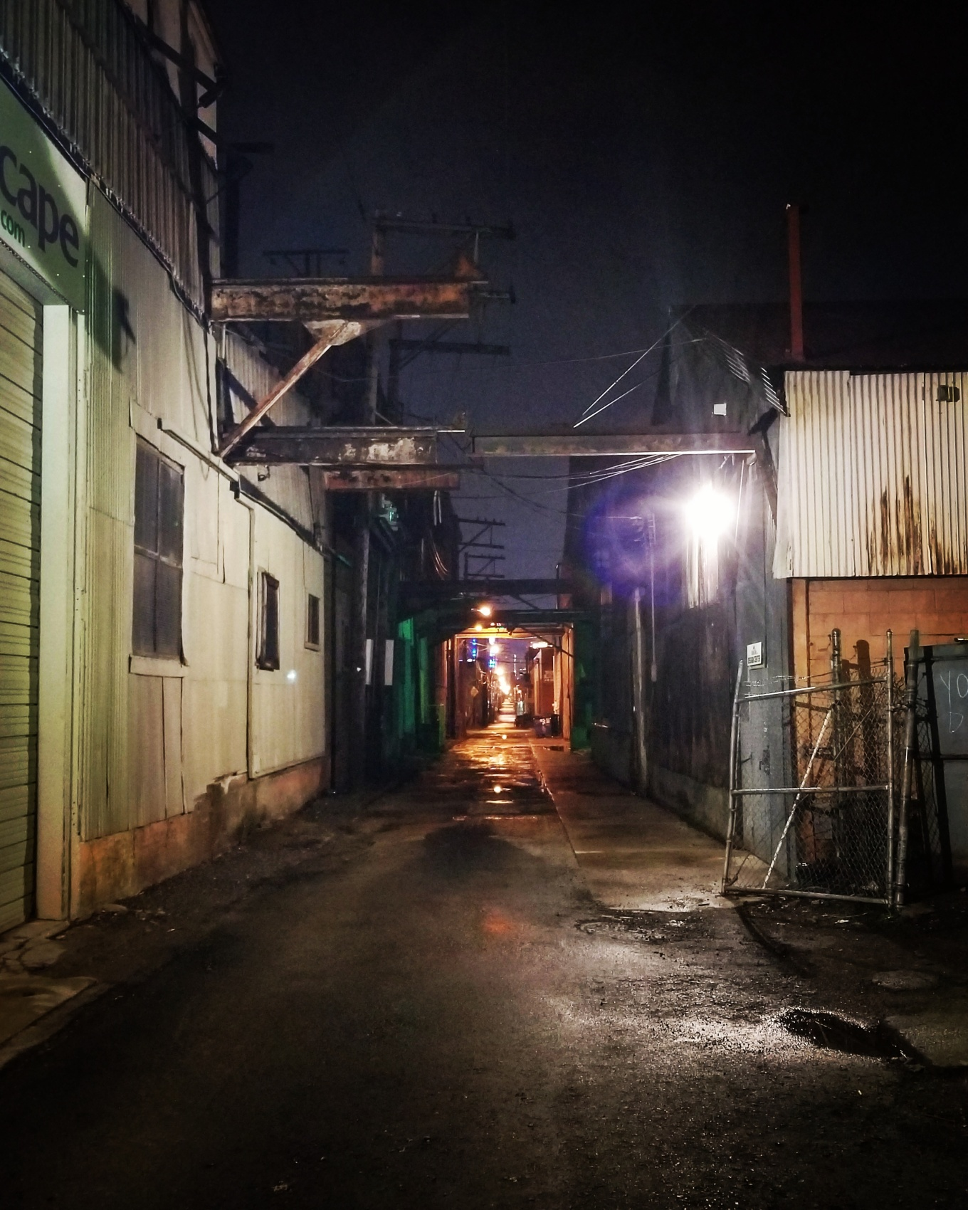 A view down a back alley in Pittsburgh's Strip District