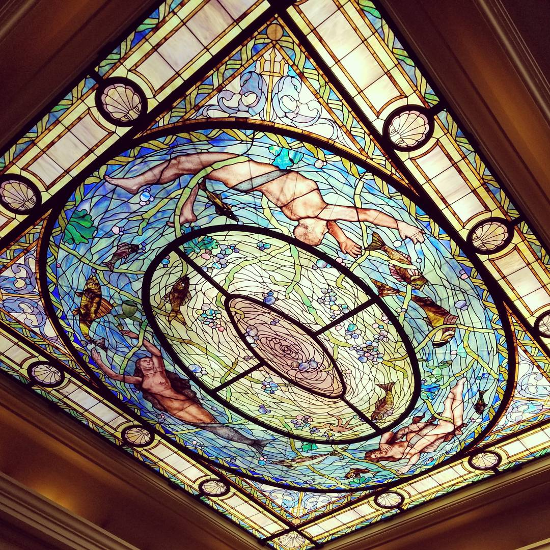 Stained glass window above the men's baths at the Fordyce Bathhouse in Hot Springs, Arkansas
