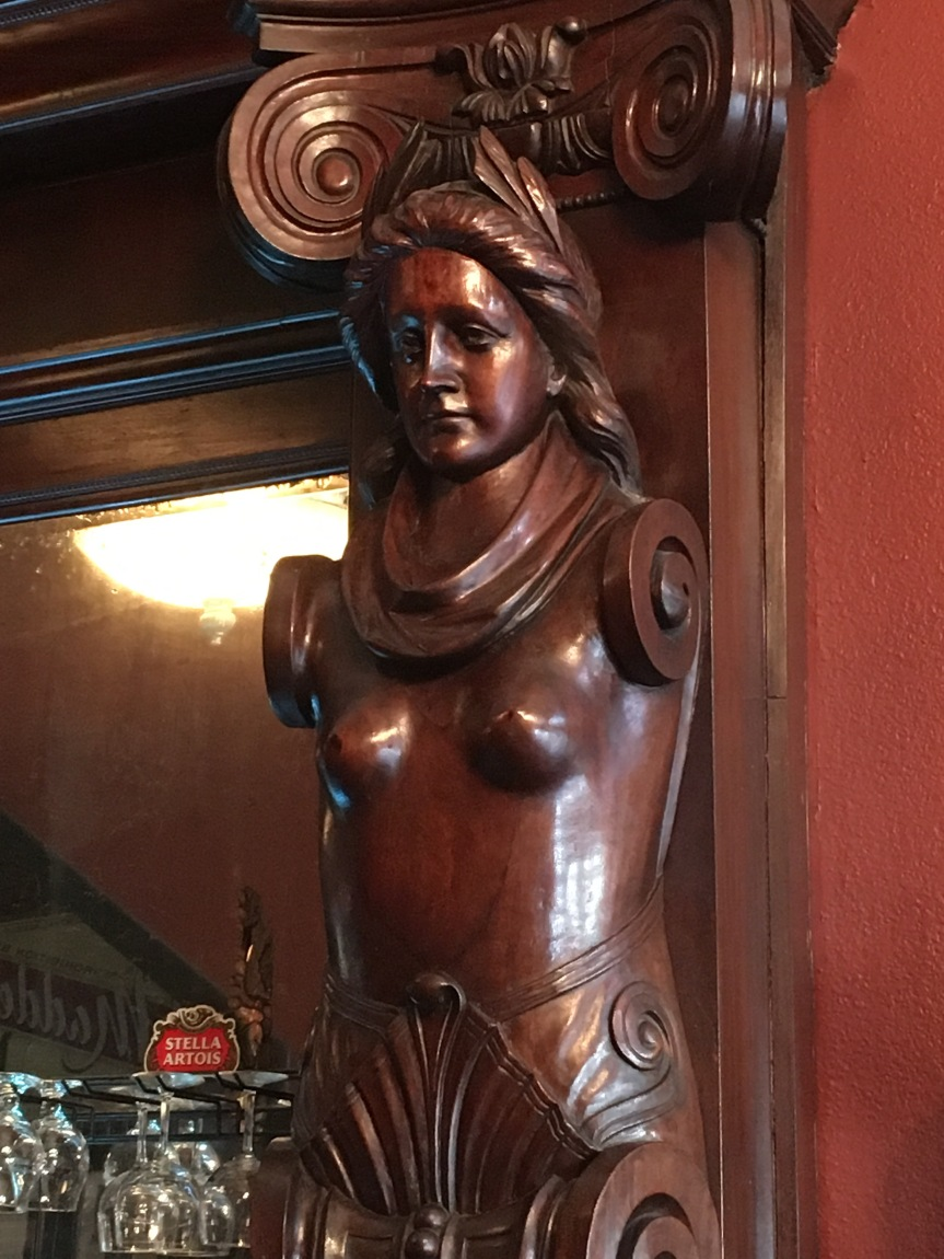 Carved bust at the Ohio Club in Hot Springs, Arkansas