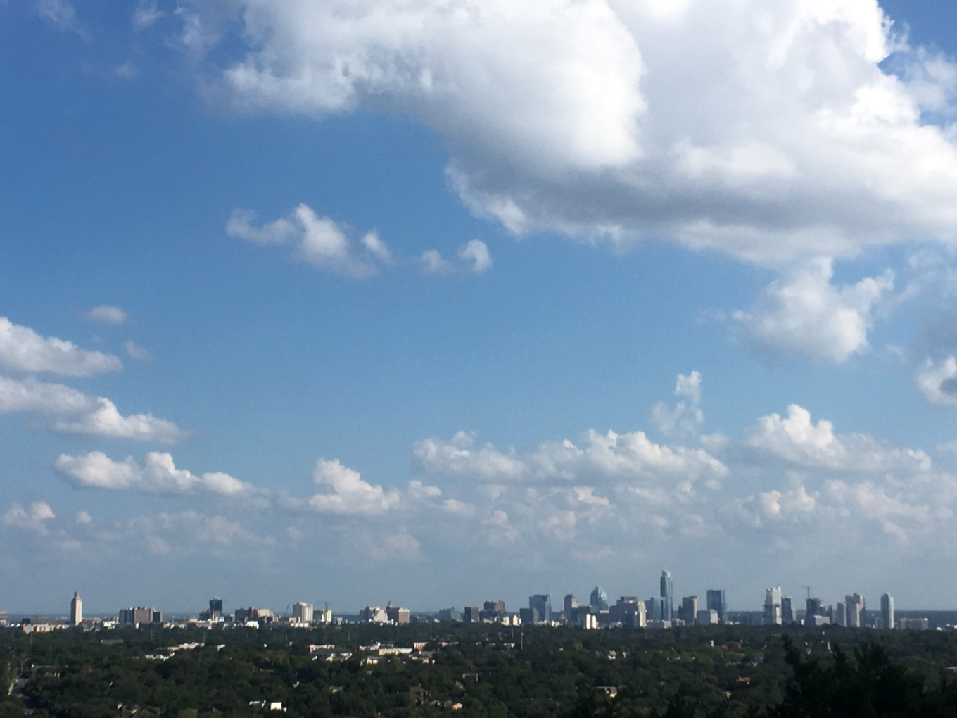 The skyline of Austin, Texas as viewed from the Mt. Bonnell Terrace in Covert Park