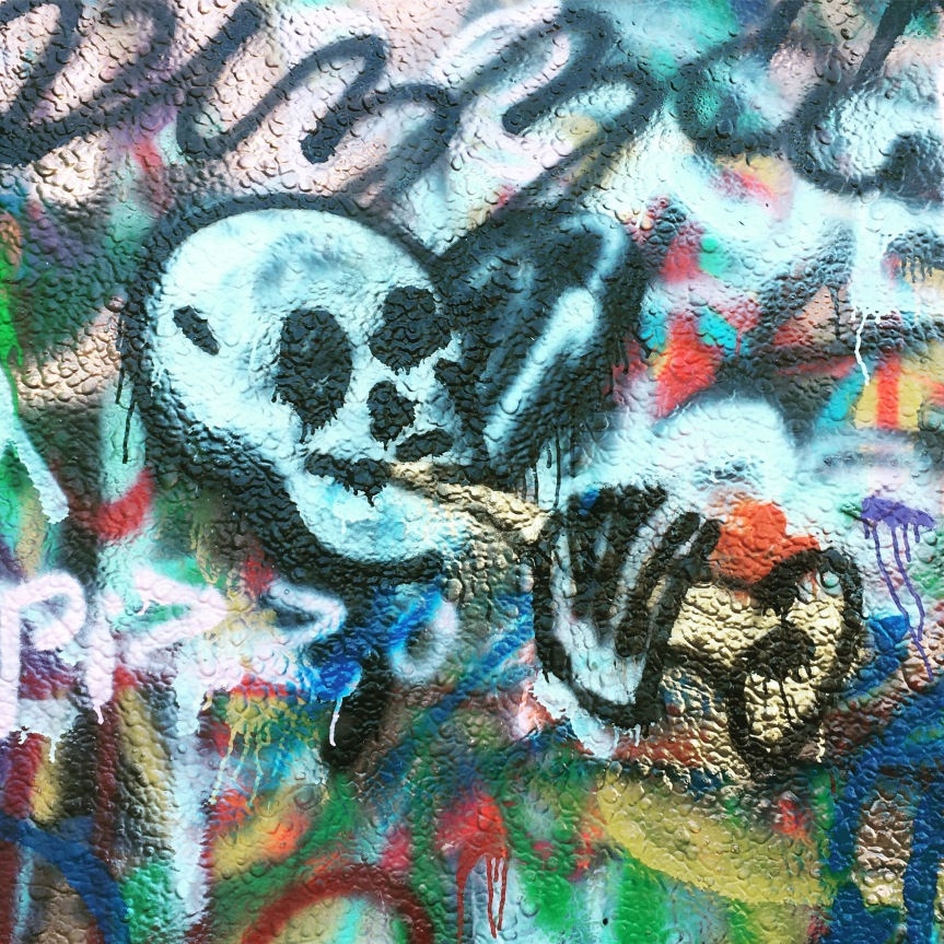 A skull playing the saxophone graffiti mural at Hope Outdoor Gallery, Austin, Texas