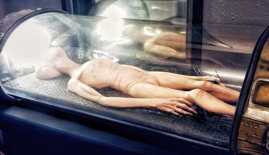 A diorama of an alien in a stasis chamber at the International UFO Museum and Research Center