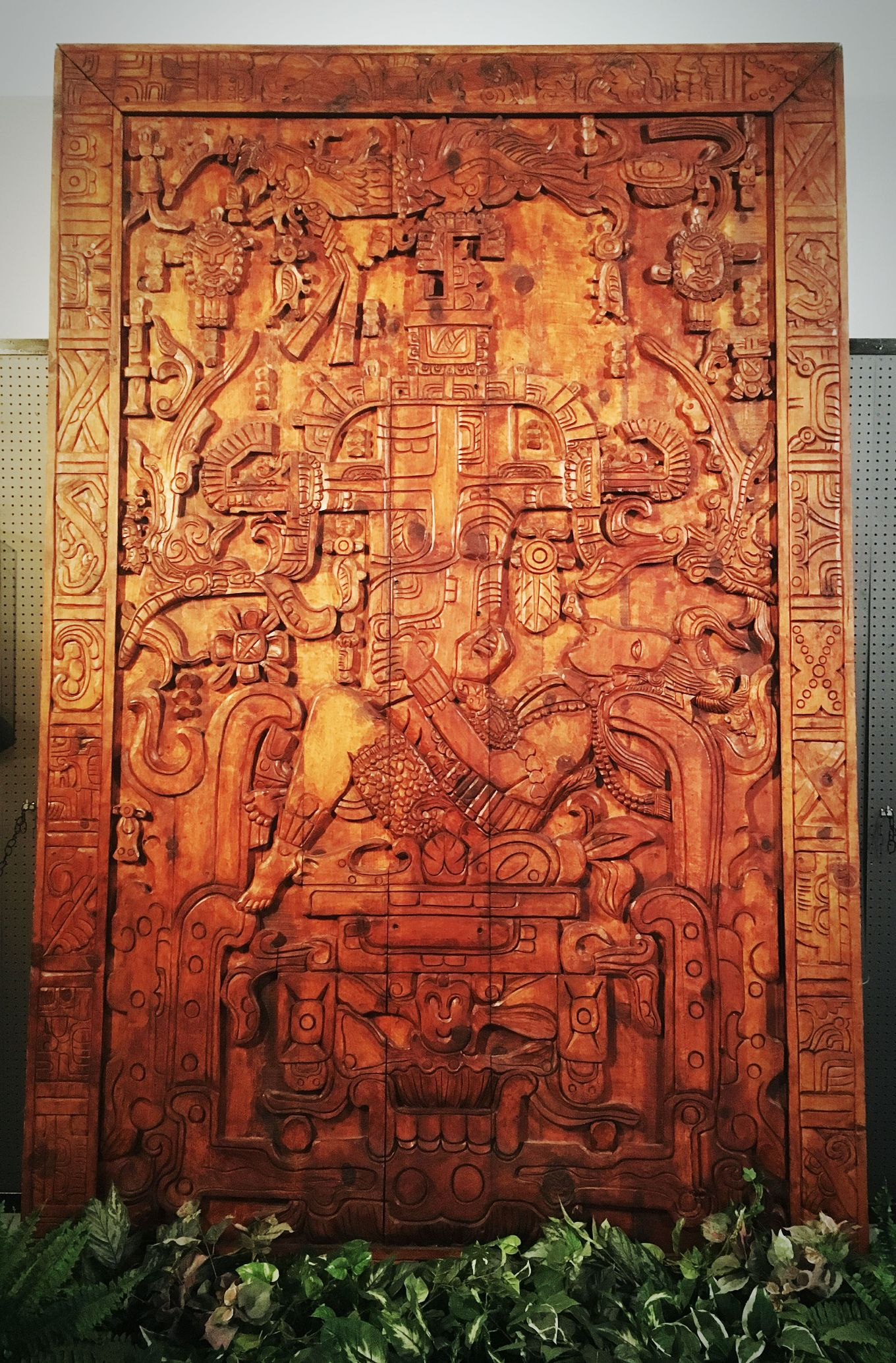 A wood carving replica of the ancient Mayan carving purported to be an ancient astronaut at the International UFO Museum and Research Center