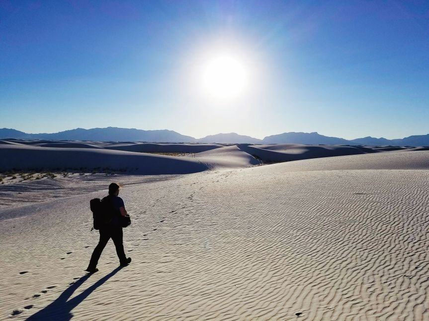 The dunes severely contrasted in light and dark, White Sands National Monument