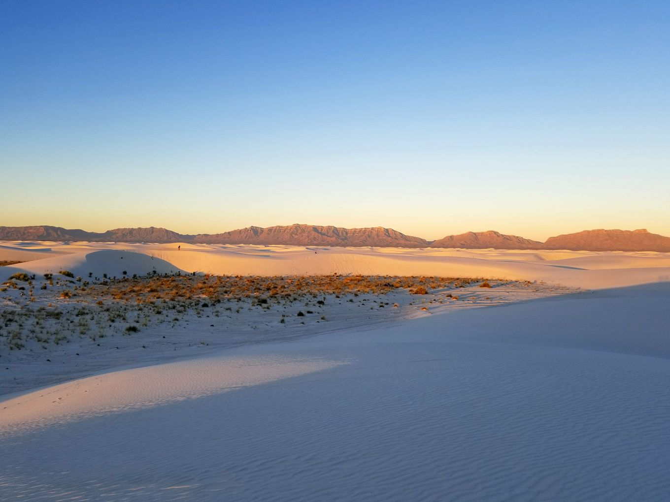 The San Andres Mountains aglow at sunset, White Sands National Monument
