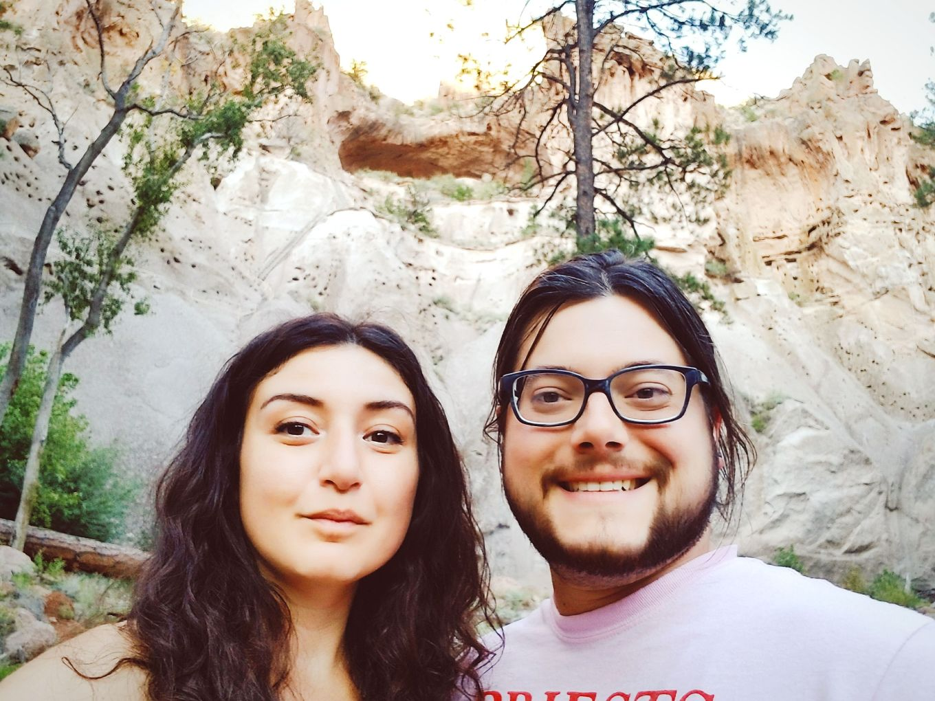 Y and J, feeling ourselves after successfully scaling the Alcove House ladders at Bandelier National Monument.