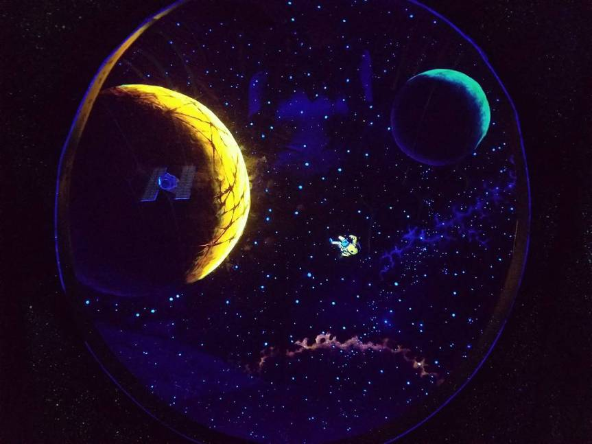 A black light painting depicting a person break dancing in the vast expanse of space