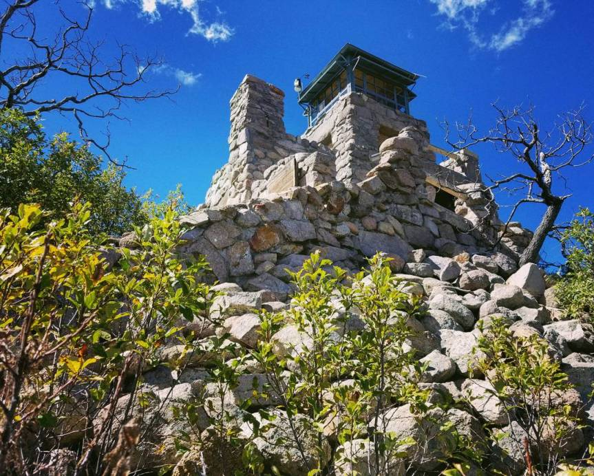 The Monjeau Point Fire Lookout Tower in Lincoln National Forest
