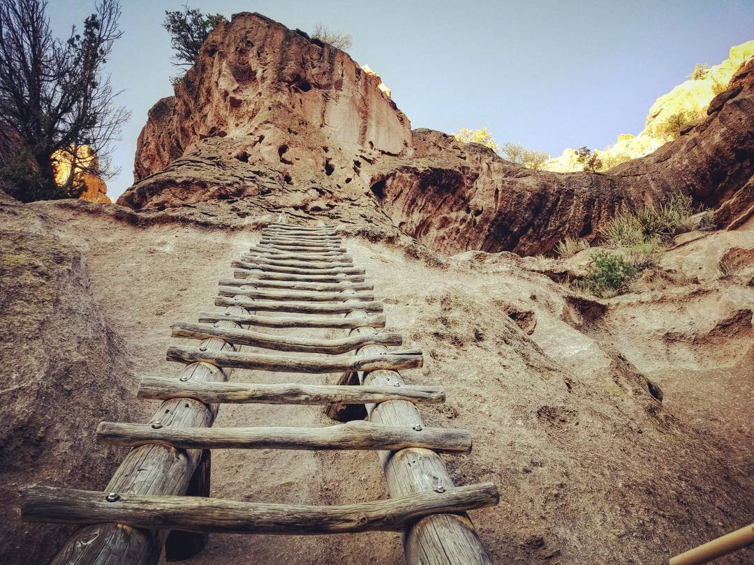 One of a number of ladders used to scale the 140 ft to the Alcove House at Bandelier National Monument.