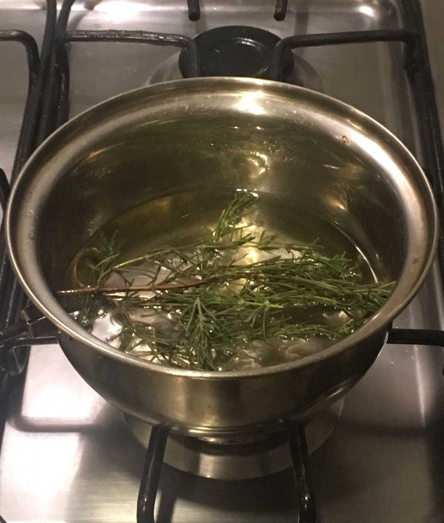 Making Rosemary Simple Syrup
