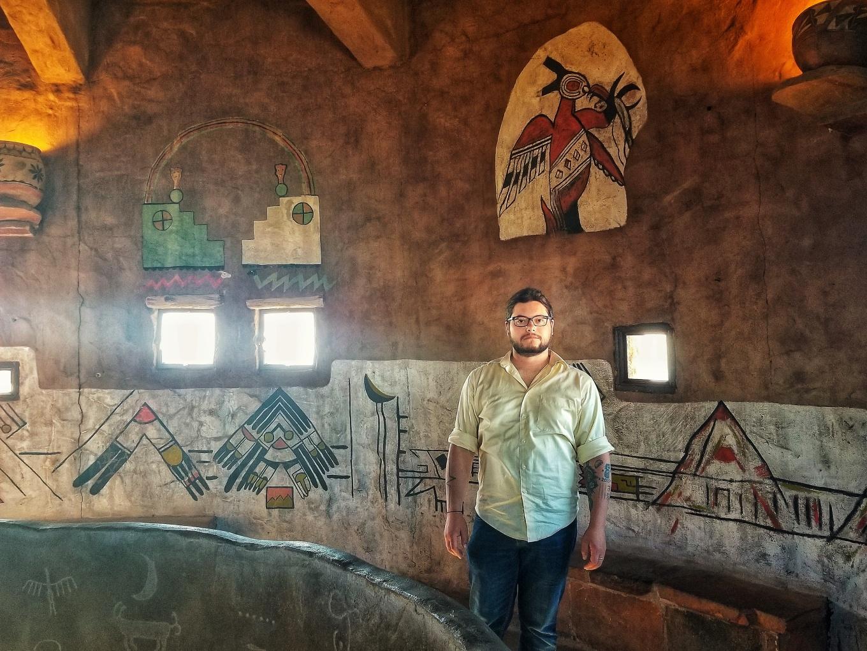 J inside the Desert Watchtower. Grand Canyon National Park, South Rim