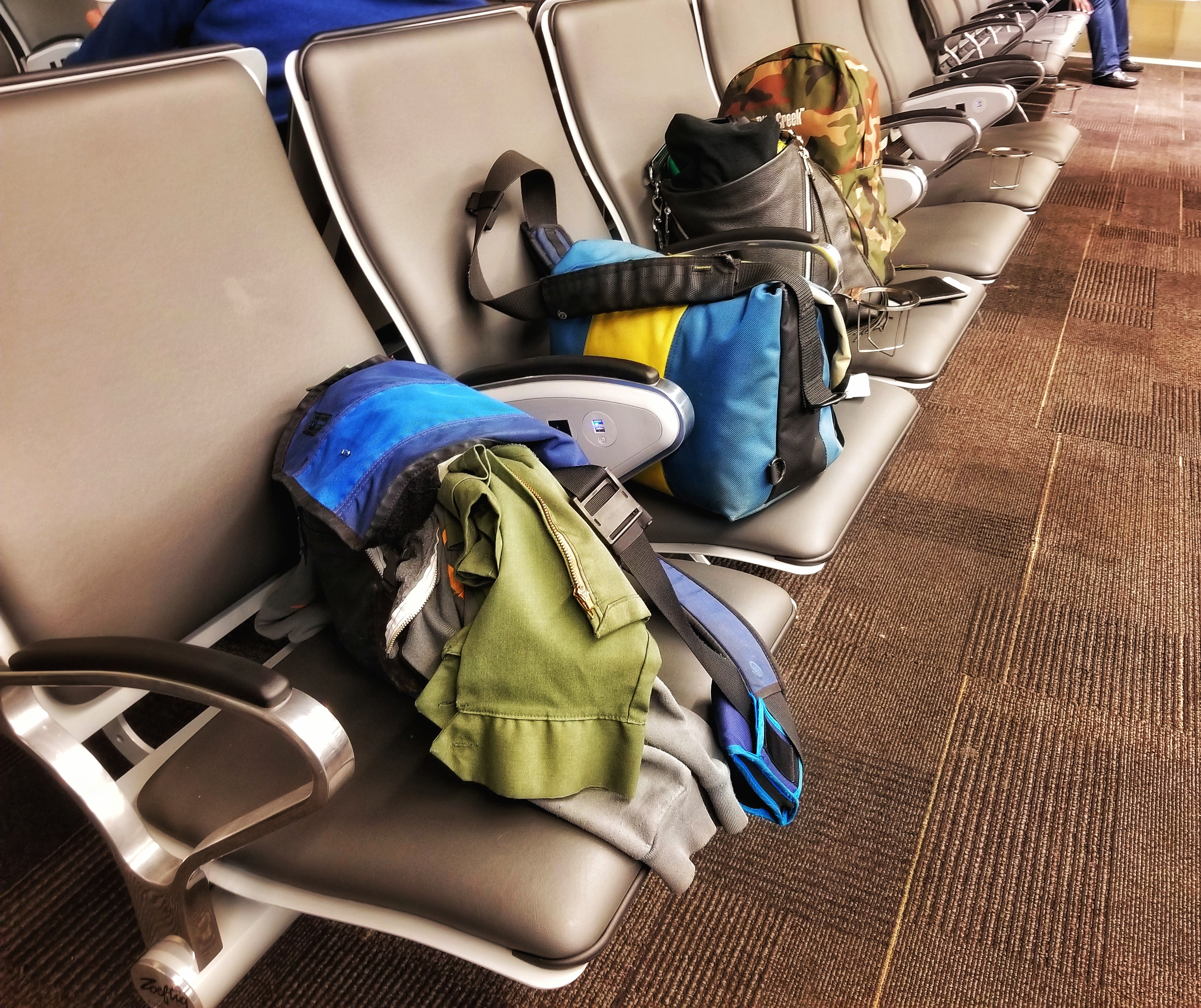 Four carry-ons in the San Diego airport