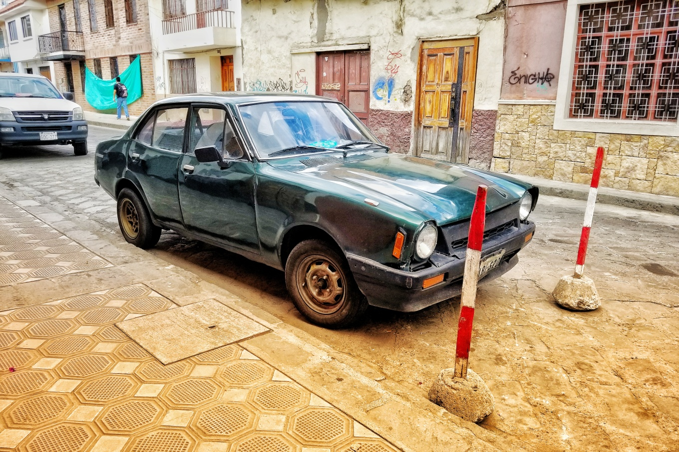 Car on Street in Cuenca, Ecuador