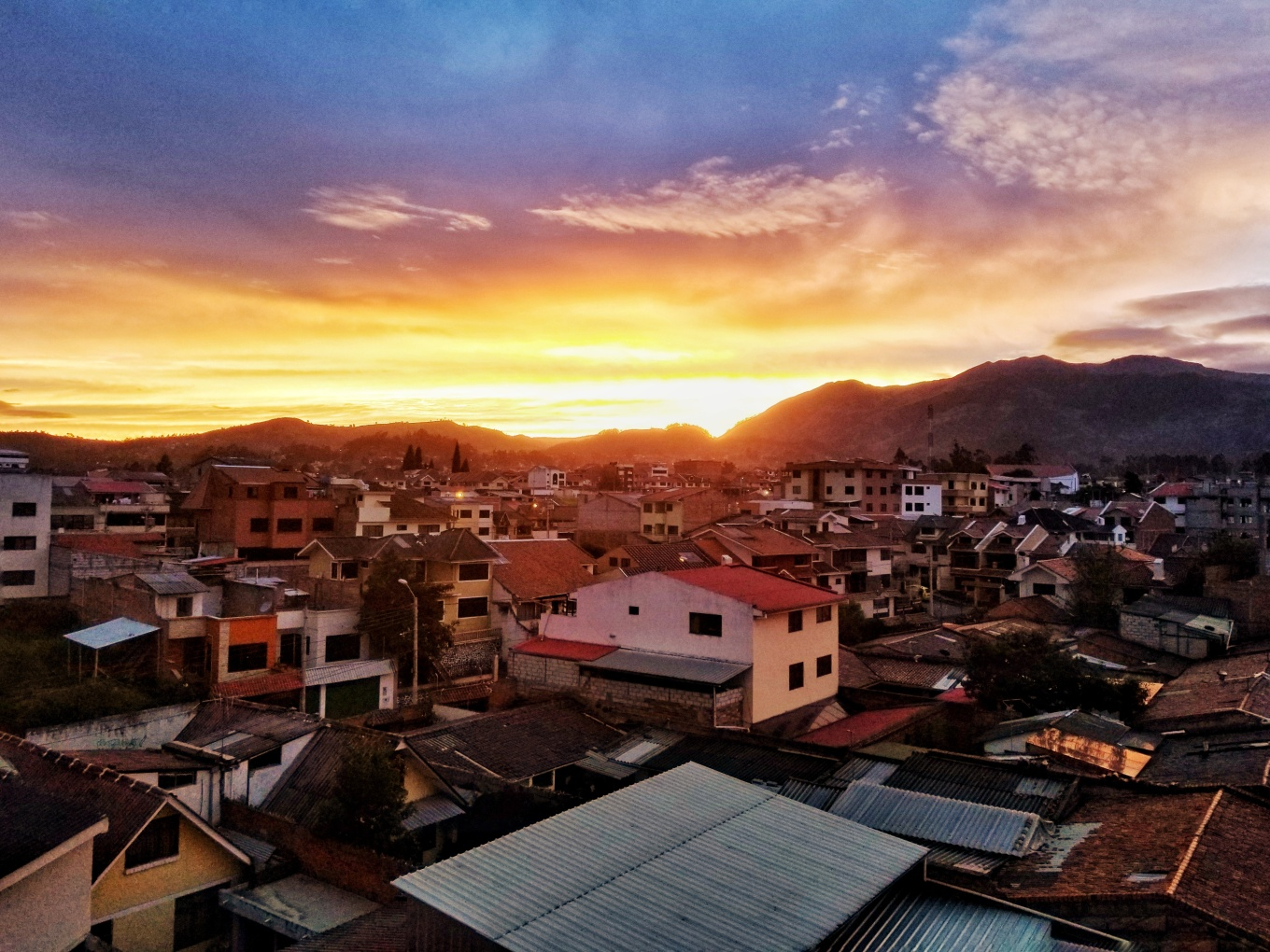 Sunset over the Andes in the city of Cuenca, Ecuador