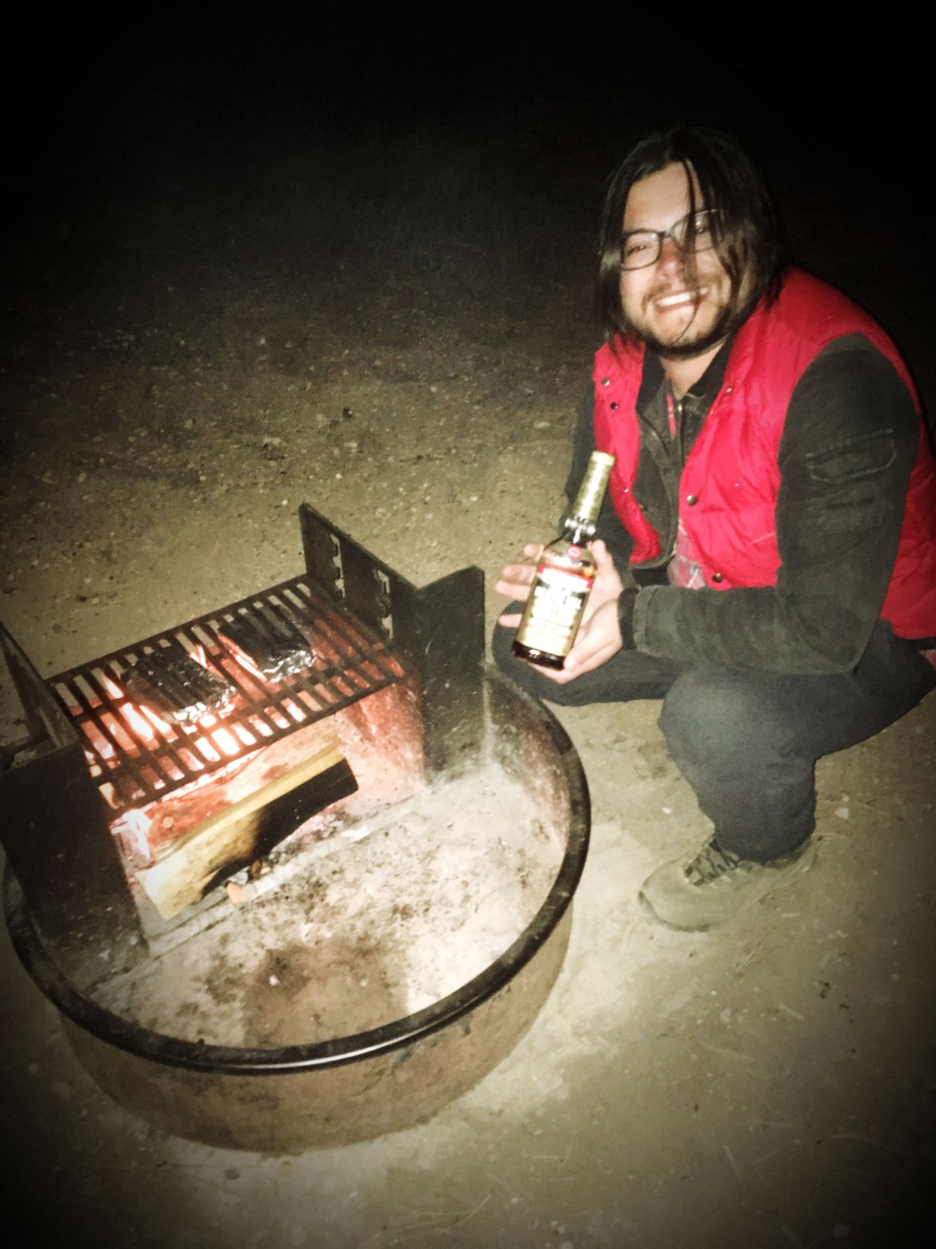 J with Heaven Hill whiskey by the campfire.