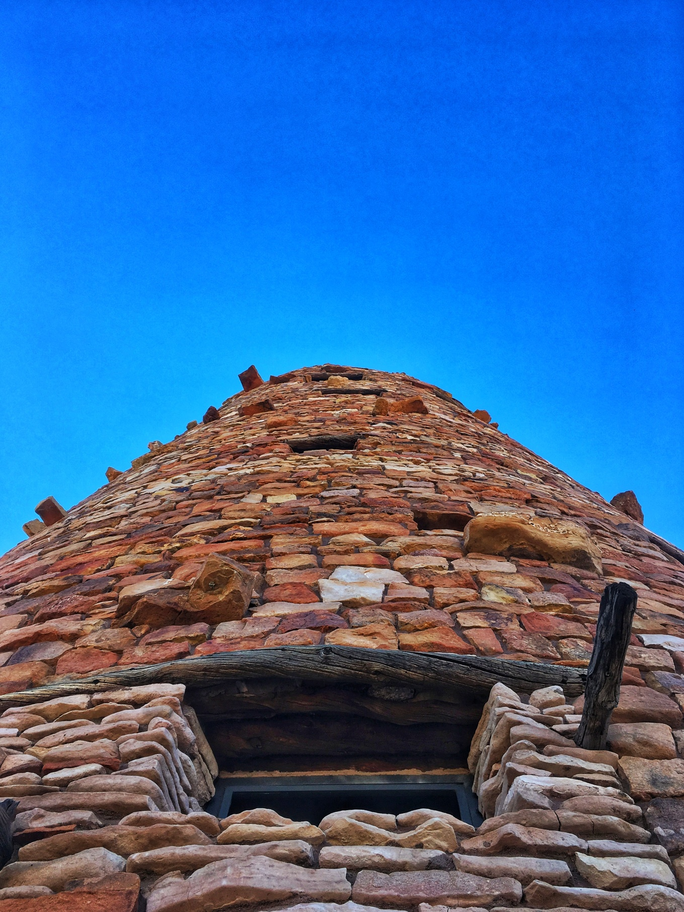 A close-up of the Desert Watchtower on the East Rim of the Grand Canyon