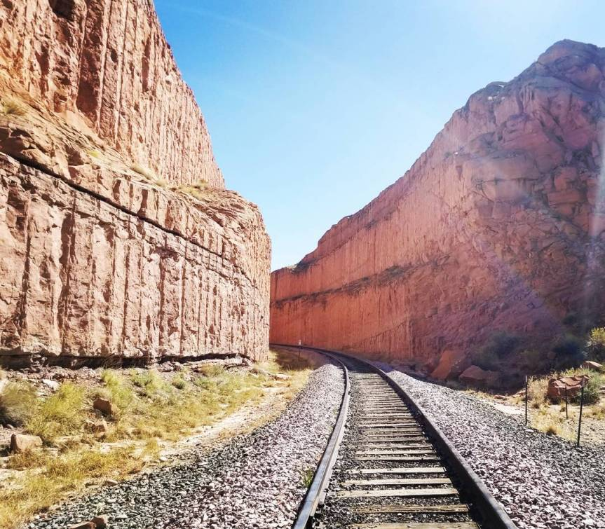 Railway Going Through Corona Arch Trail, UT