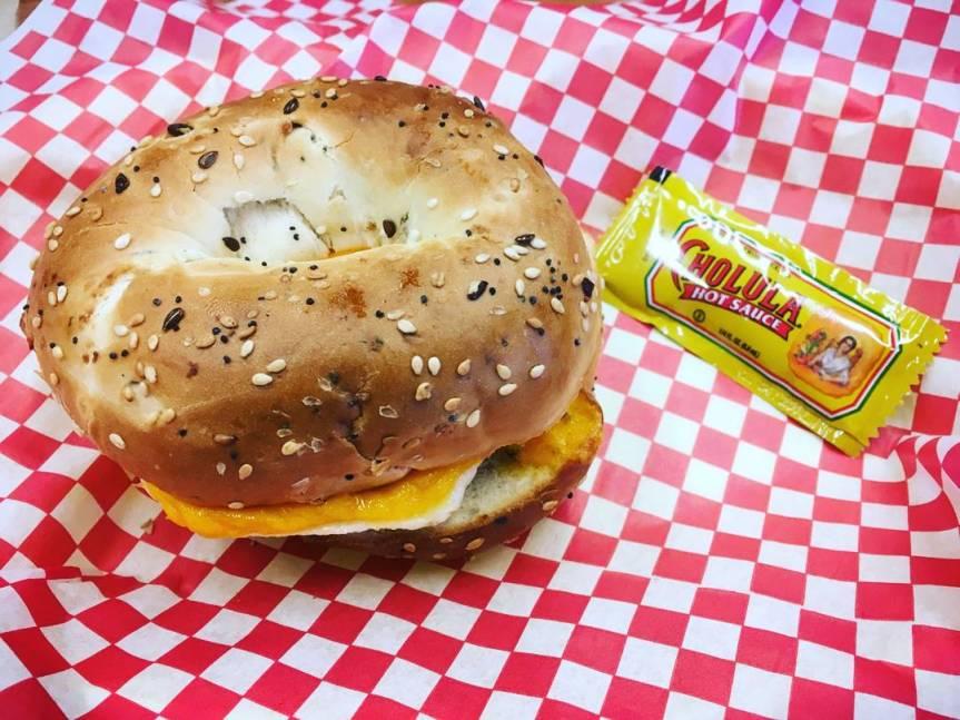 Breakfast sandwich with individual Cholula packet