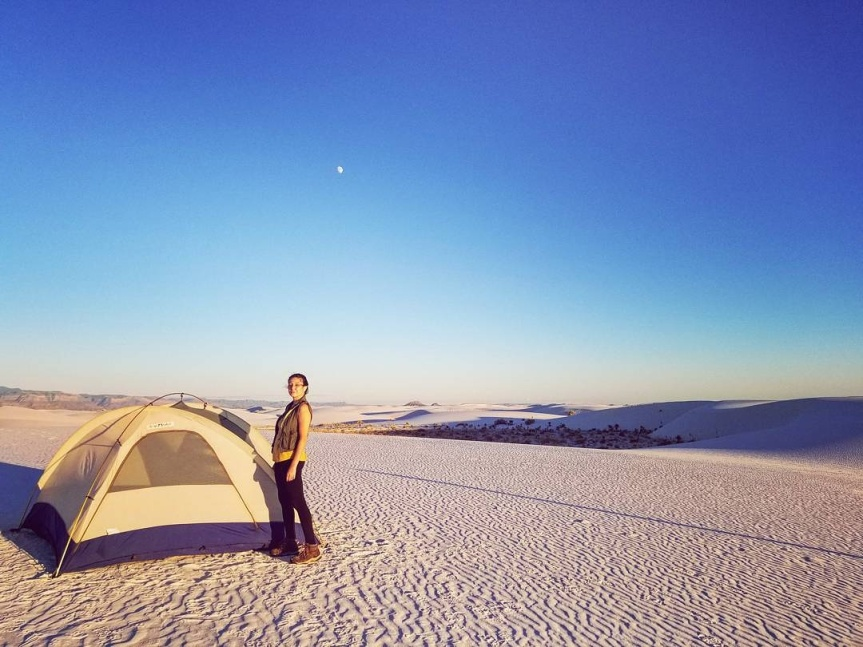 Y in front of tent at White Sands National Monument, NM