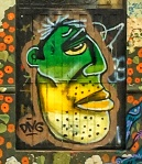 Lemon Lime Grafitti Head Street Art in Cuenca, Ecuador