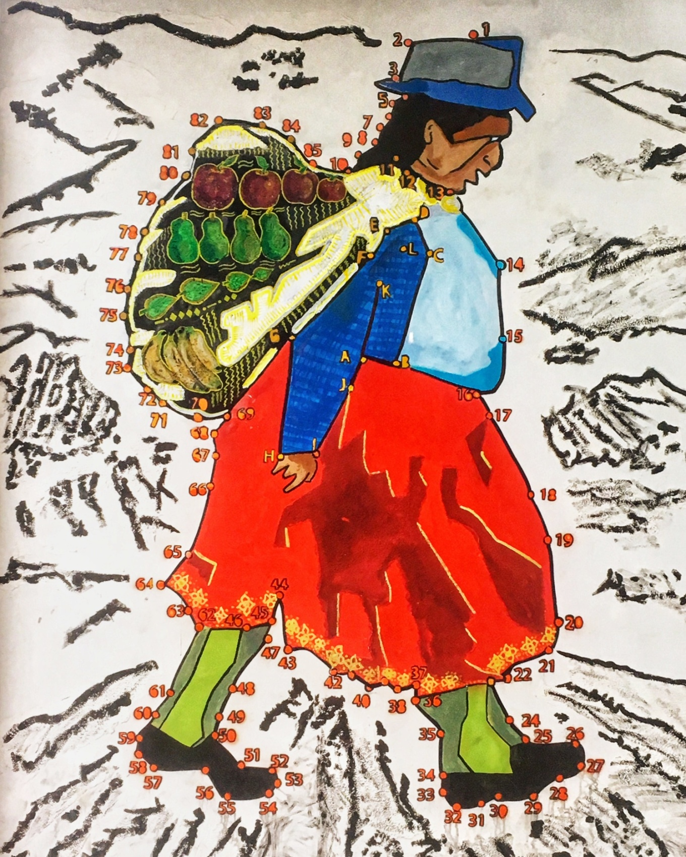 Public art depicting native women's traditional garb in Cuenca, Ecuador