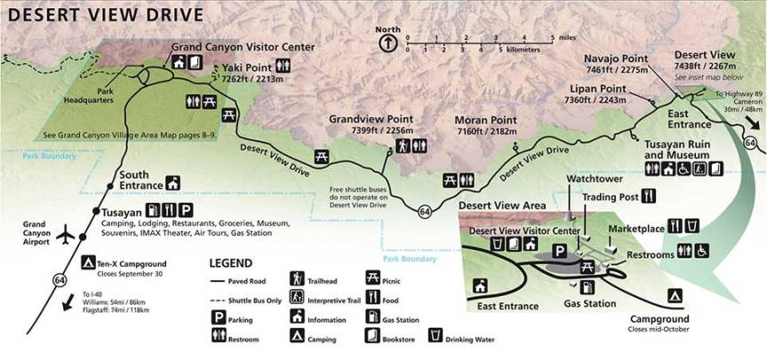 A Map of Desert View Drive in Grand Canyon National Park