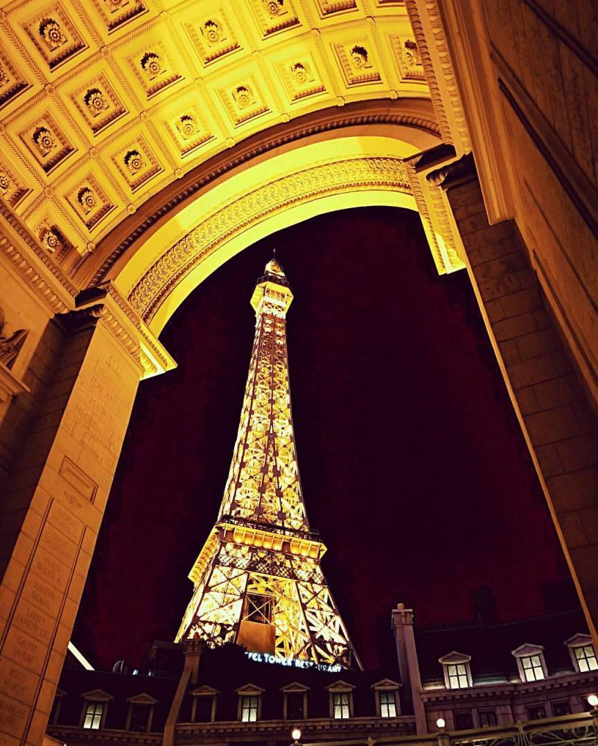 A shot of the Eiffel Tower replica in Las Vegas, NV