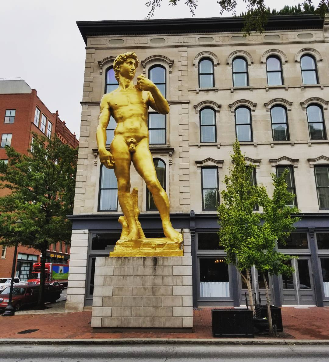 Gold Statue of David in Louisville, Kentucky