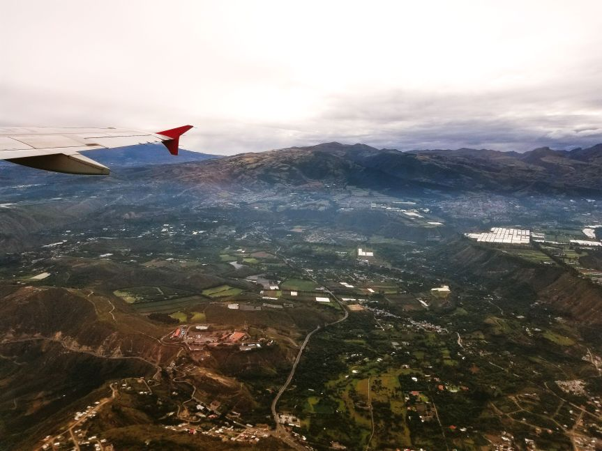 Flying over the Andes Mountains on our way to Cuenca, Ecuador