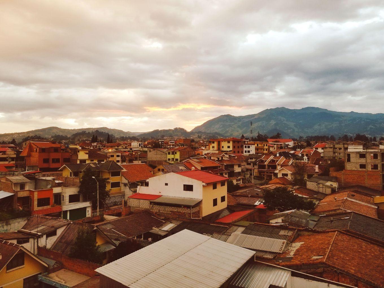 El Batán neighborhood of Cuenca, Ecuador at sunset