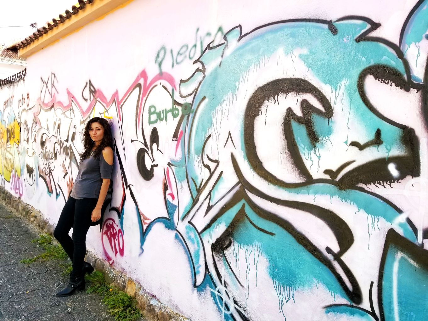 Y In Front Of Graffiti Cuenca, Ecuador