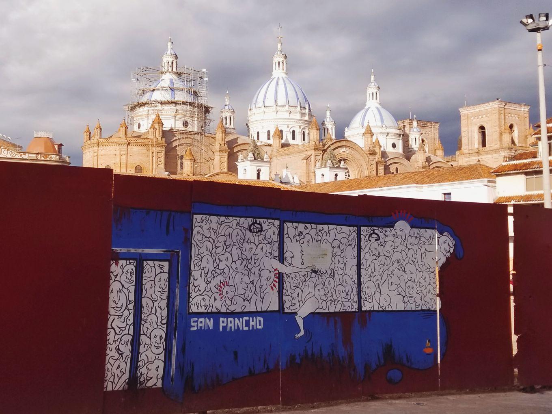 Street Art And El Catedral Inmaculada Concepcion Cuenca, Ecuador