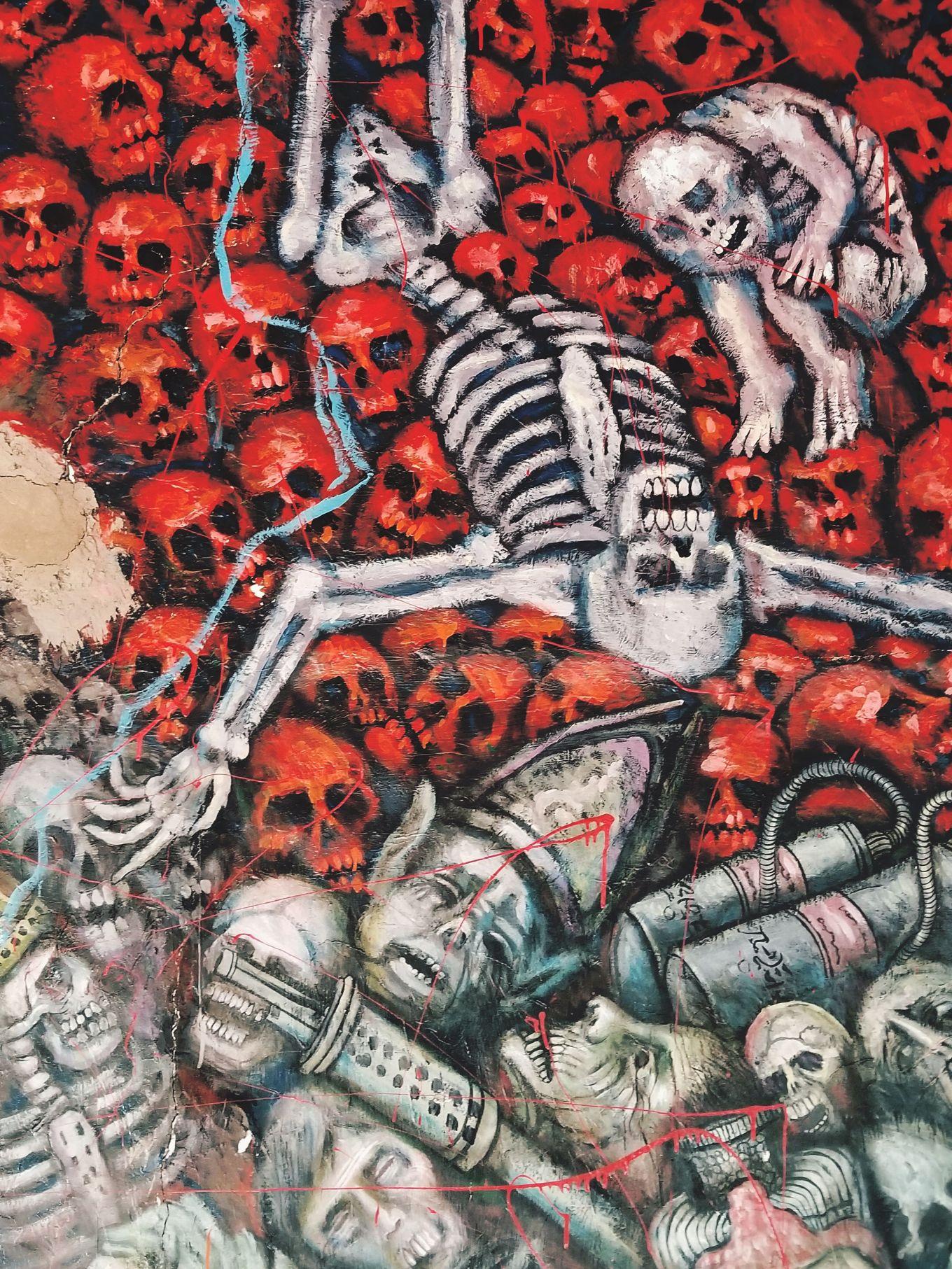 Skull Mural In El Museo De Cultura Prohibida In Cuenca, Ecuador