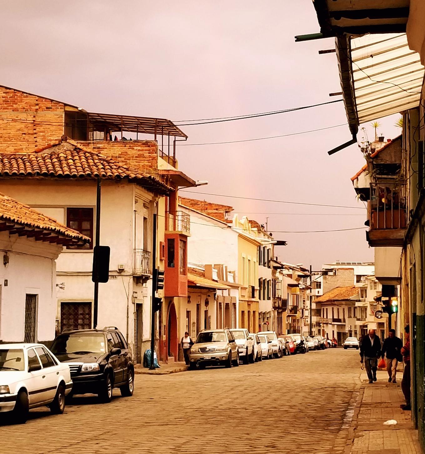 Rainbow in Cuenca's Centro Histórico