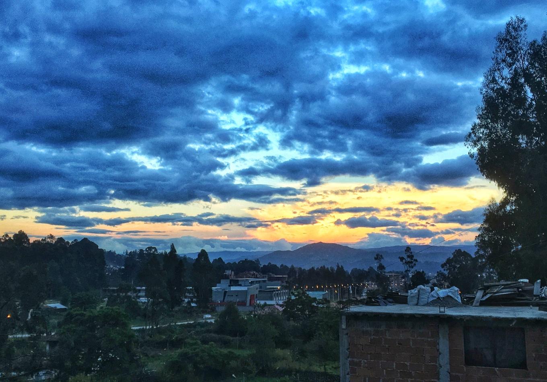 The sun setting over Cuenca, Ecuador