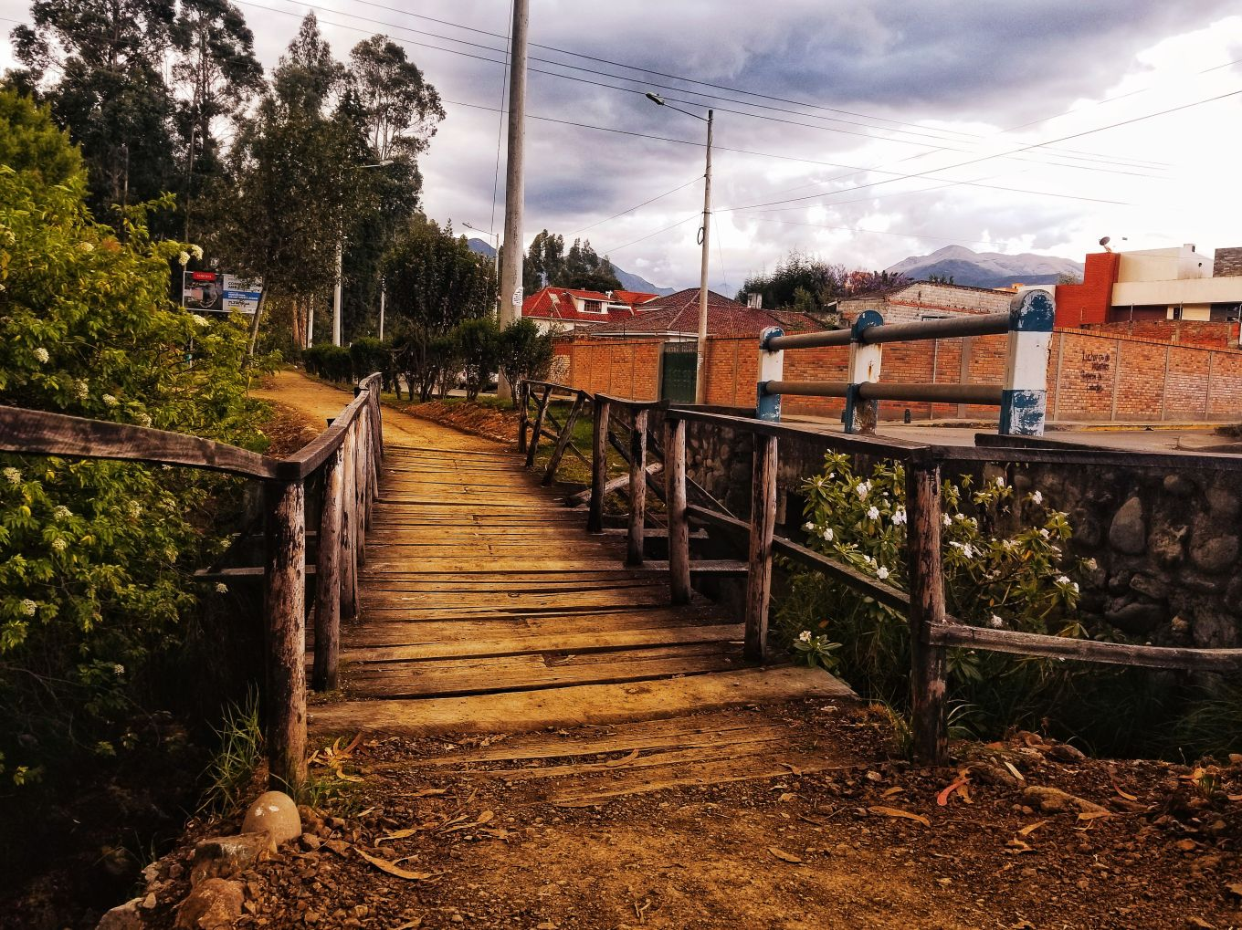 A Riverwalk bridge in Cuenca, Ecuador