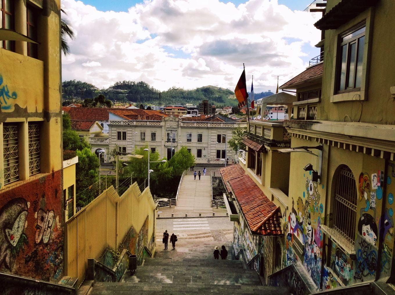A grand staircase in Cuenca, Ecuador
