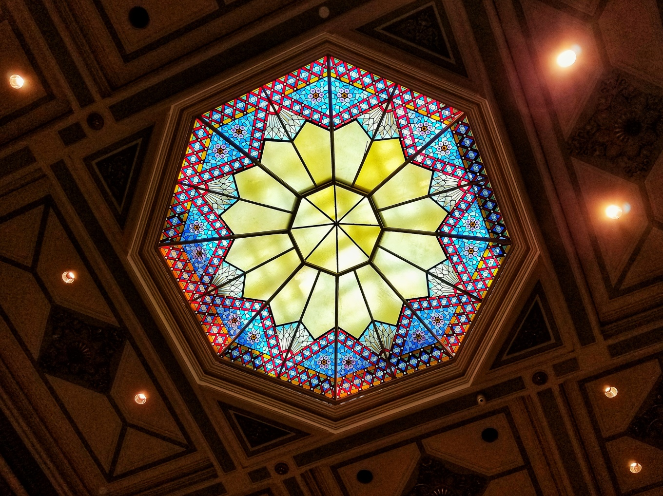 Stained glass in the ceiling of the National Portrait Gallery in Washington, D.C.